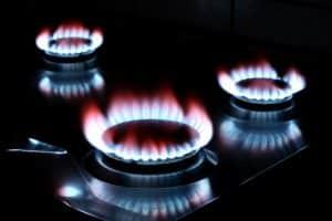 Three lit furnace burners
